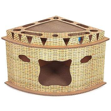 GONGYU El Tablero de arañazos del Gato del Gato del Tablero del rasguño Gato del Gato de la Caja de la Garra del Gato Protege el cartón del Gato,Brown: ...