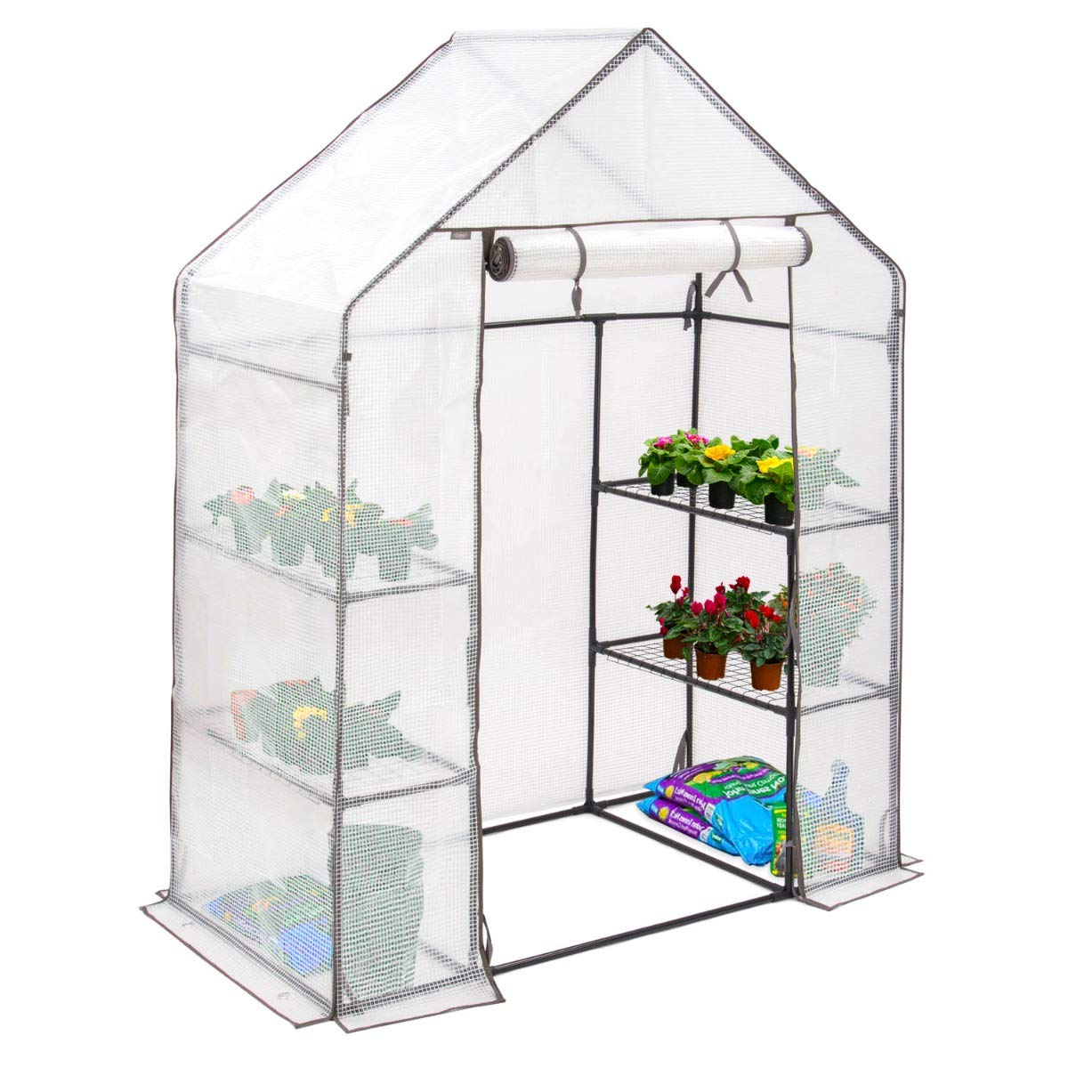 Double Zip PVC Cover Compact Garden Growhouse Christow Large 6ft Walk-In Greenhouse 4 Shelves Sturdy Steel Frame