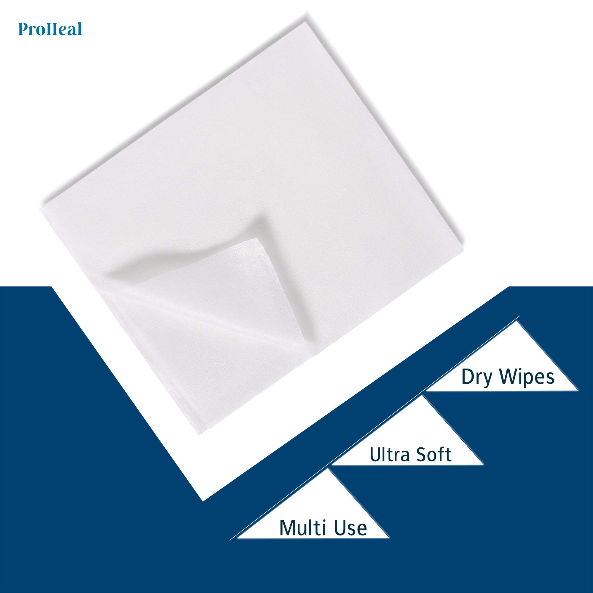 Disposable Dry Wipes - Ultra Soft Non-Moistened Cleansing Cloths for Adults, Incontinence, Baby Care, Makeup Removal - Hospital Grade, Durable, Absorbent - by ProHeal (1,000 Count (20 Pack Case))