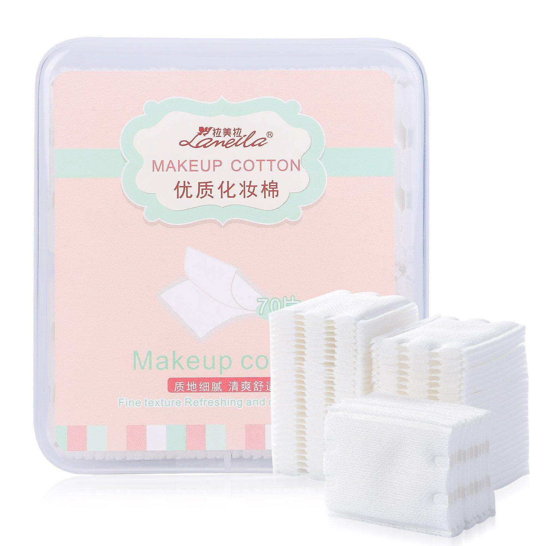 Lameila, tamponi multistrato in cotone privo di pelucchi, 53x 60mm per struccare viso, occhi e unghie, cotone cosmetico-Confezione da 70salviette