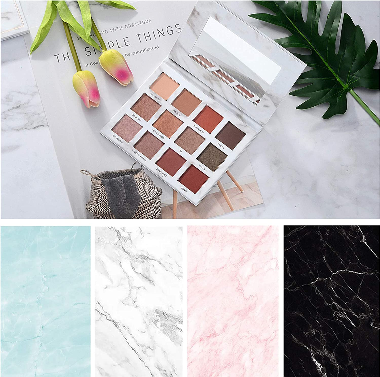 Bcolor Marble Backdrop Photography Paper 4 Pack Kit 22x35Inch/ 56x88cm Flat Lay Photo Background Rolls Double Sided for Food Product Jewelry Tabletop Blog Pictures Props, 8 Pattern