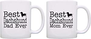Dog Lover Gift Best Dachshund Mom Dad Ever Doxen Doxie Bundle 2 Pack Gift Coffee Mugs Tea Cups White