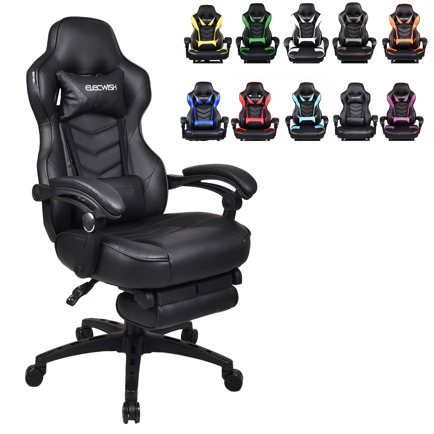 ELECWISH Racing Video Gaming Chair High Back Large Size Ergonomic Adjustable Swivel Reclining Executive Computer Gaming Chair with Headrest and Lumbar Support PU Leather Executive Office Chair Black by ELECWISH