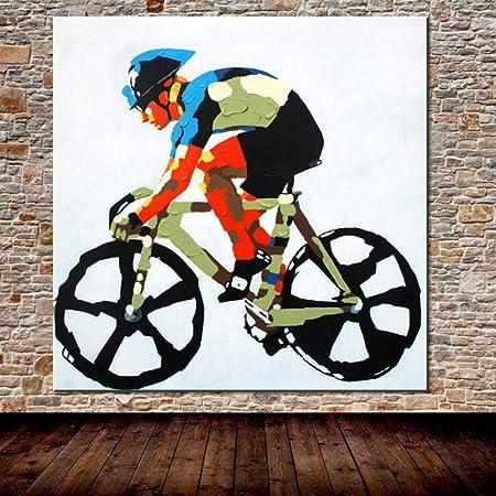 Pinturas Al Óleo Sobre Lienzo,Arte Deportivo De Bicicleta Pintado Abstracto,100% Pintado A Mano Arte Moderno De La Pared Sala De Estar Sin Marco Cuadro Decoración Del Hogar Pintura,140Cmx140Cm: Amazon.es: Hogar