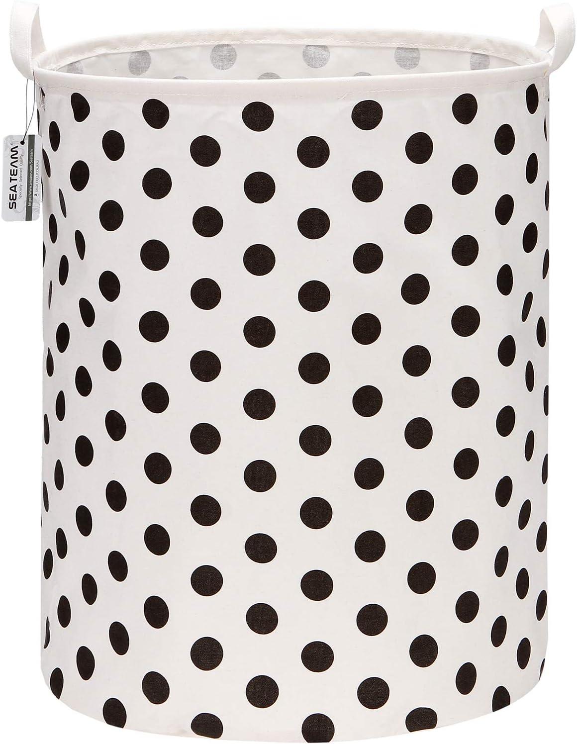 """Sea Team 19.7 Inches Large Sized Waterproof Coating Ramie Cotton Fabric Folding Laundry Hamper Bucket Cylindric Burlap Canvas Storage Basket with Stylish Polka Dot Design (19.7"""", Black)"""