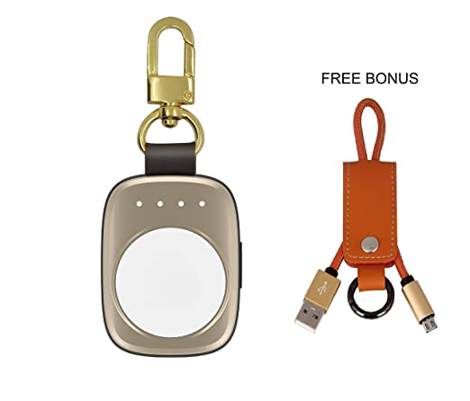 Portable Wireless Apple Watch Magnetic Charger [Apple MFI Certified], Pocket Sized Keychain for Travel, Built in Power Bank for iWatch, Compatible ...
