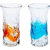 でこ一口ビアグラス2個セット(オレンジ・水)
