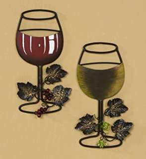 Tripar Wall Metal Wine Art   Red Wine / White Wine Glass Set Of 2