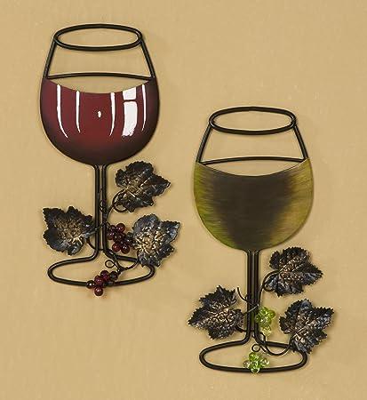 Amazon.com: Tripar Wall Metal Wine Art - Red Wine / White Wine Glass ...