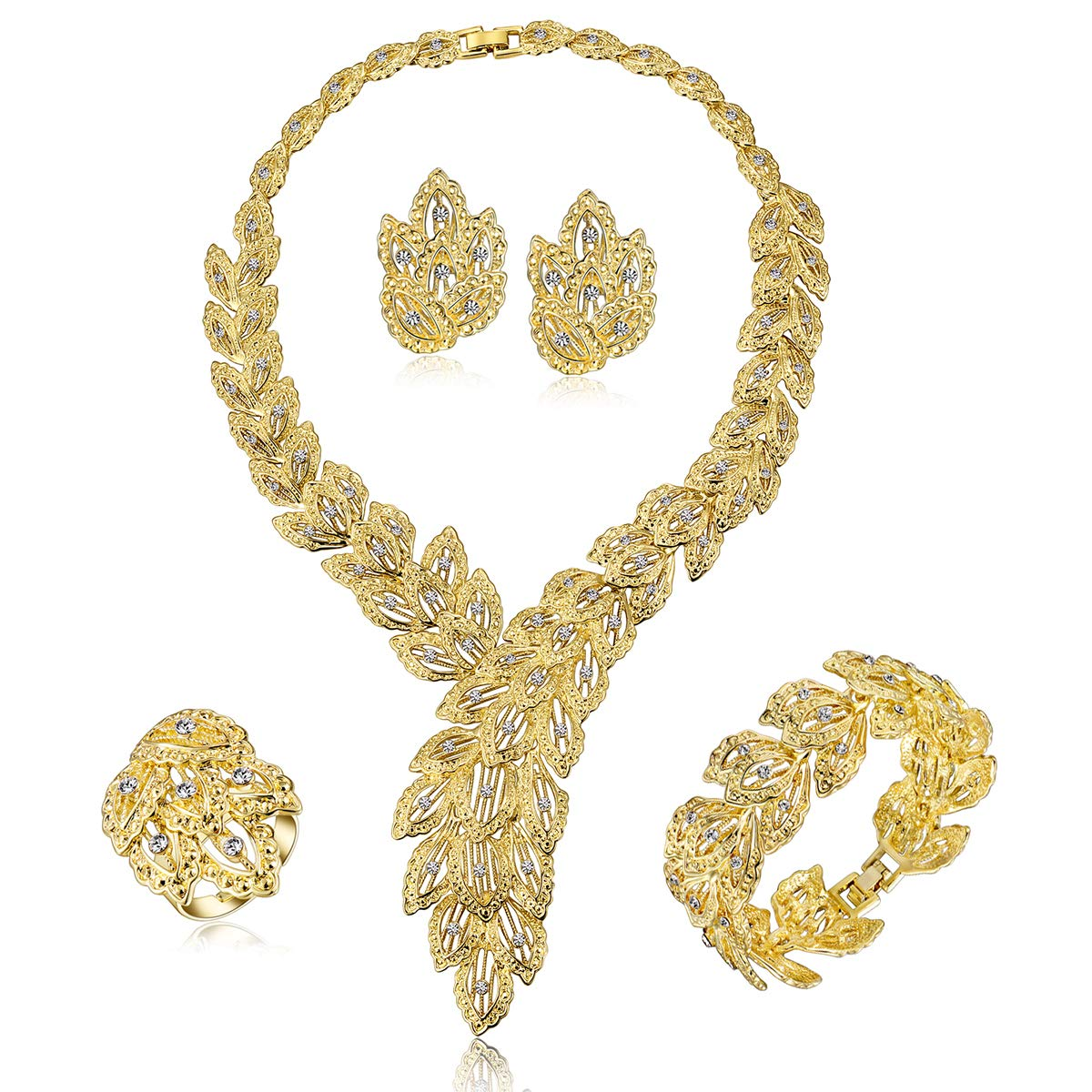 Moochi 18K Gold Plated Scarf-Shaped Crystal Chain Necklace Ring Jewelry Set