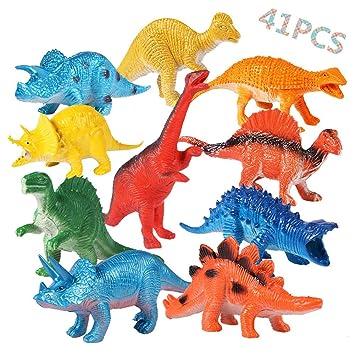 OCMCMO 41 Pcs de Juguete Educativo de Dinosaurios, Juego de Dinosaurios, Mundo Jurásico, Dinosaurio de Plástico para Niños DE 3 a 6 Años: Amazon.es: ...