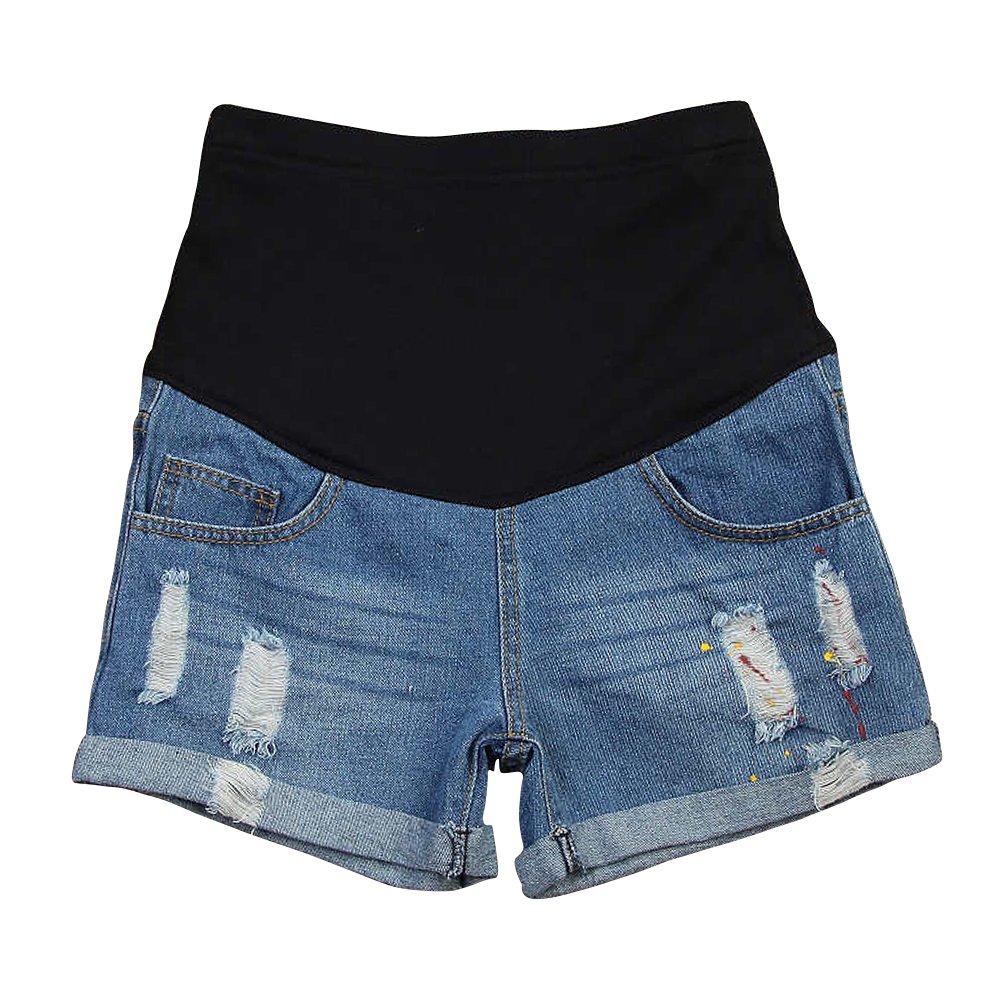 Women's Summer Adjustable Maternity Pregnant Denim Shorts Blue Tag XL
