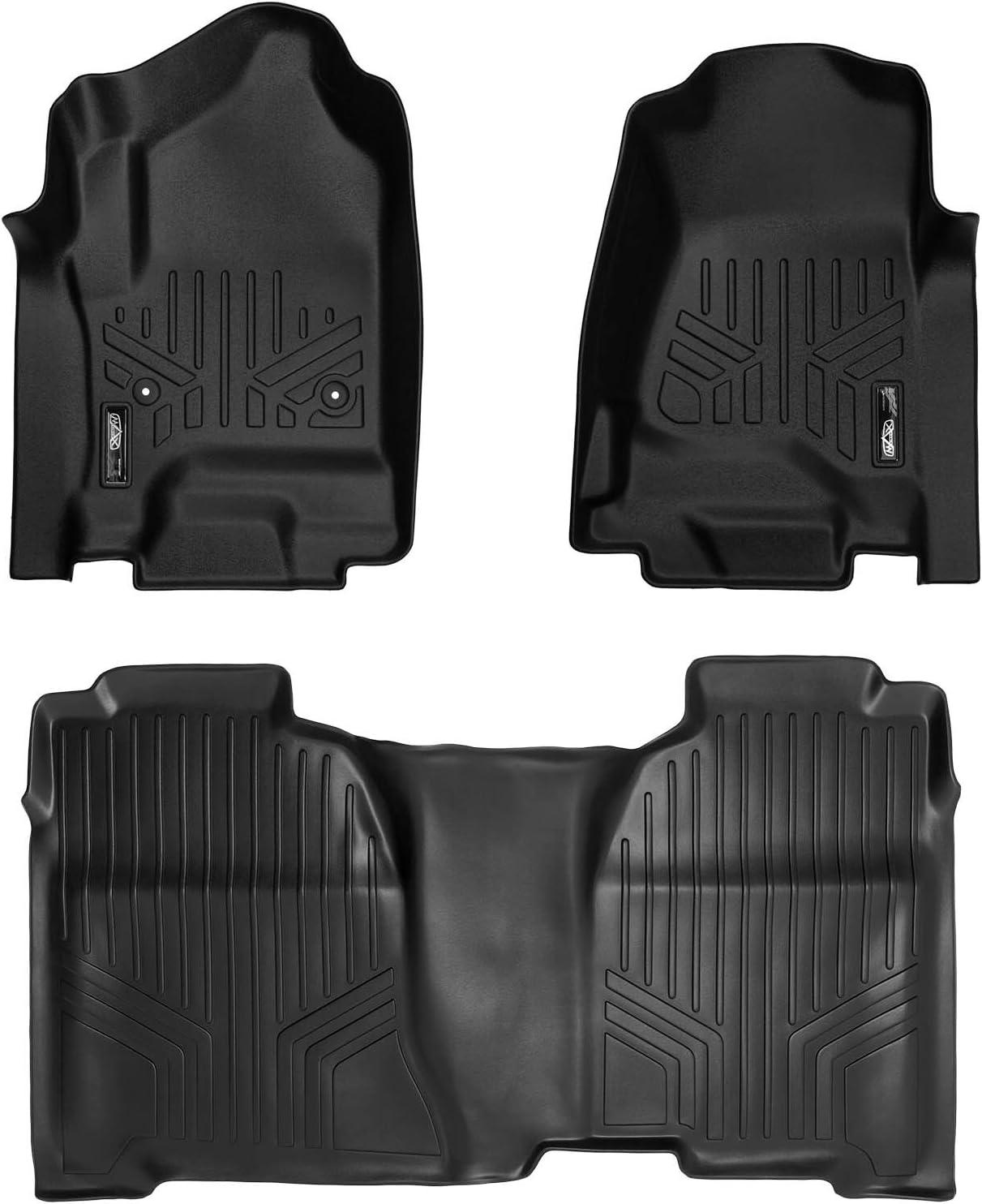 SMARTLINER Floor Mats 2 Row Liner Set Black for Crew Cab 2014-2018 Silverado/Sierra 1500 - 2015-2019 2500/3500 HD