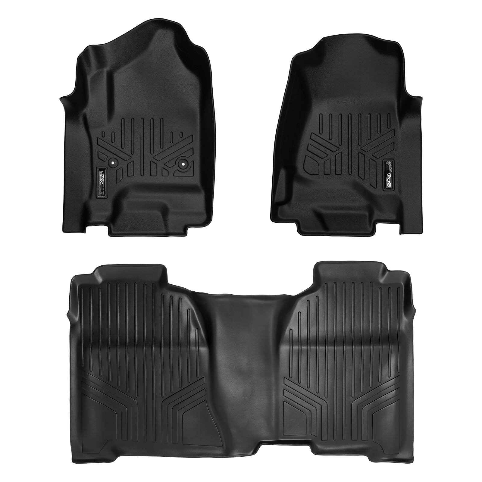 SMARTLINER Floor Mats 2 Row Liner Set Black for Crew Cab 2014-2018 Silverado/Sierra 1500 - 2015-2019 2500/3500 HD