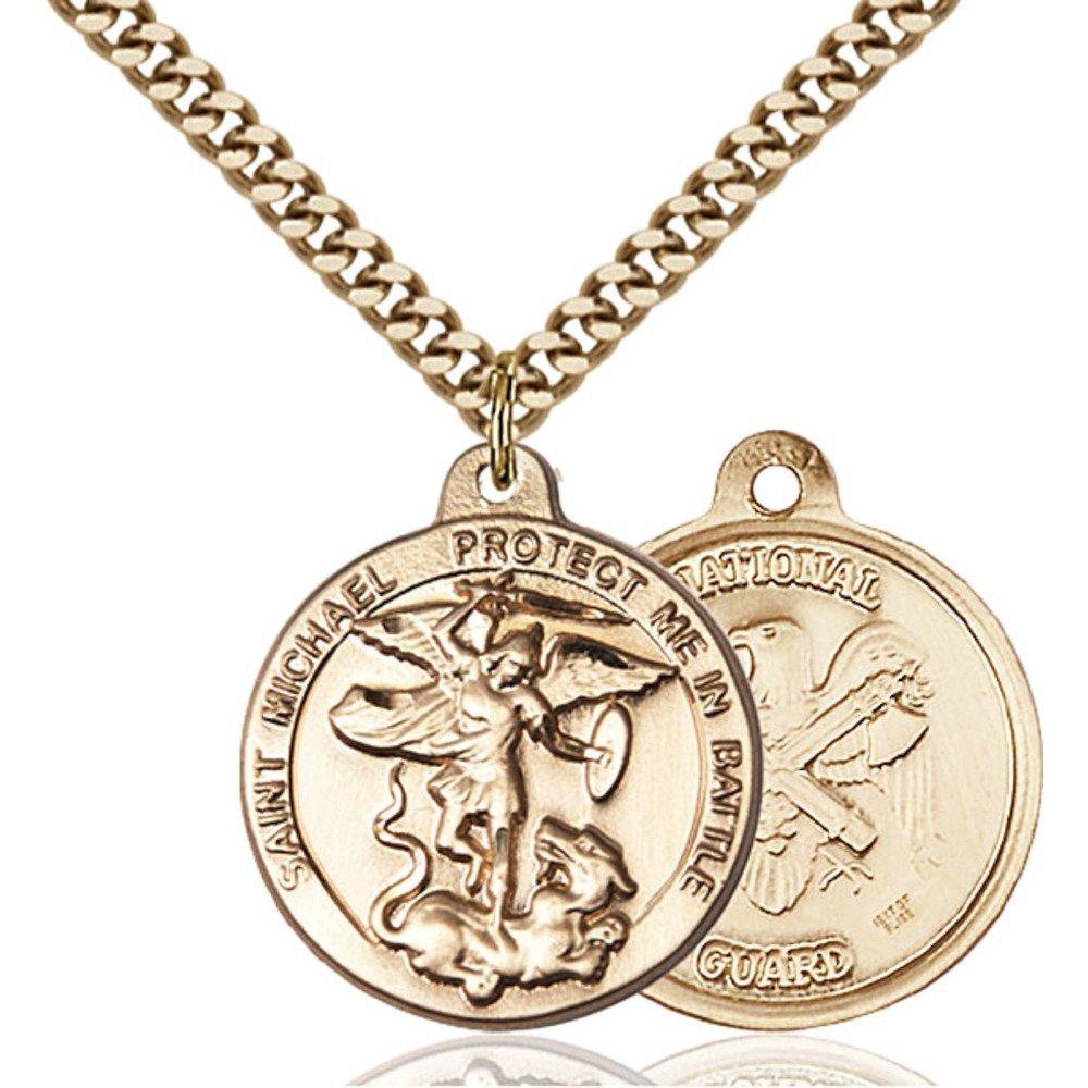 Bonyak Jewelry 金張り 大天使聖ミカエル ペンダント 7/8 x 1 3/8インチ 重厚なカーブチェーン付き   B00P5O0E2A
