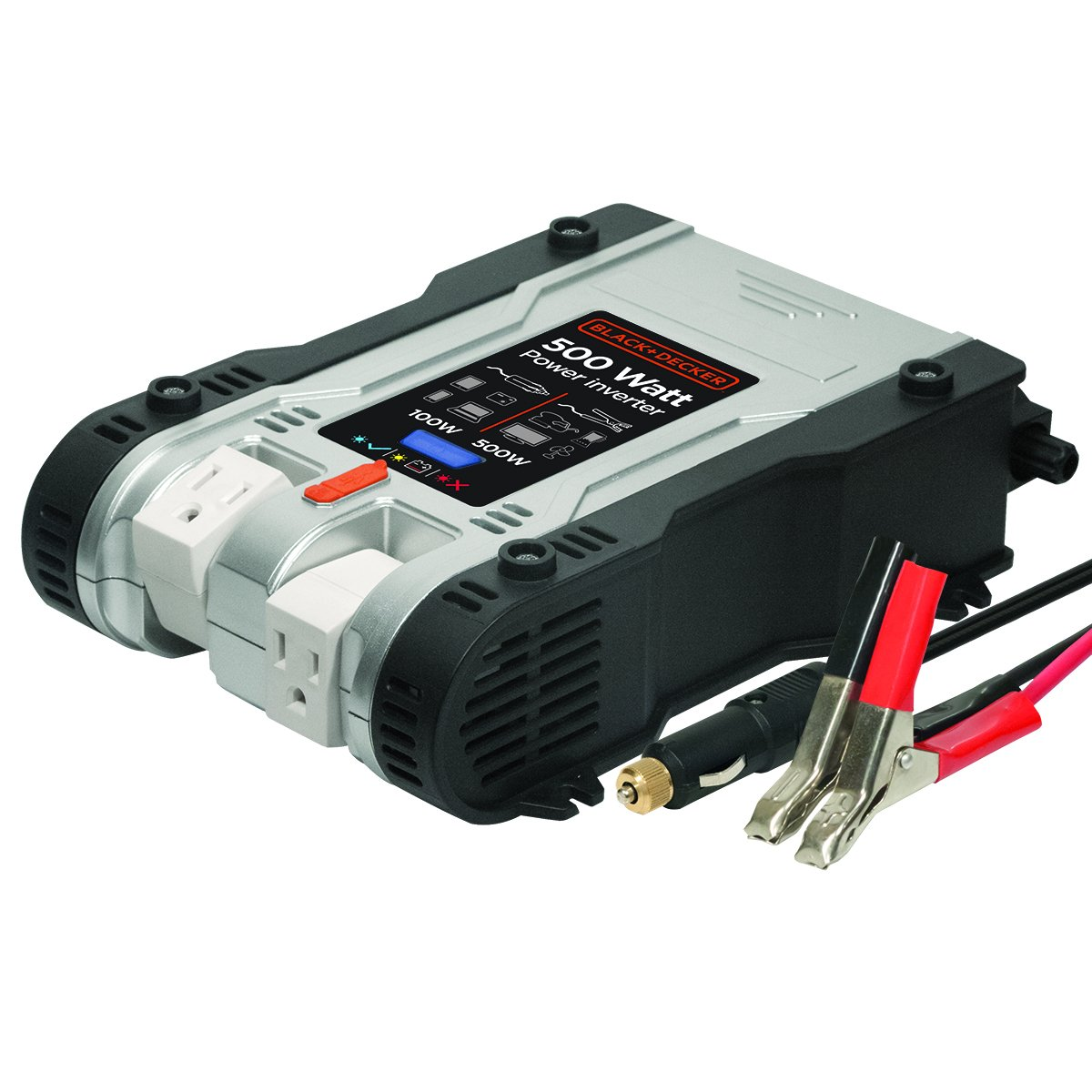 BLACK+DECKER PI500P 500W Power Inverter: Dual Pivoting 120V AC Outlets, 2A USB Port, 12V DC Adapter, Battery Clamps