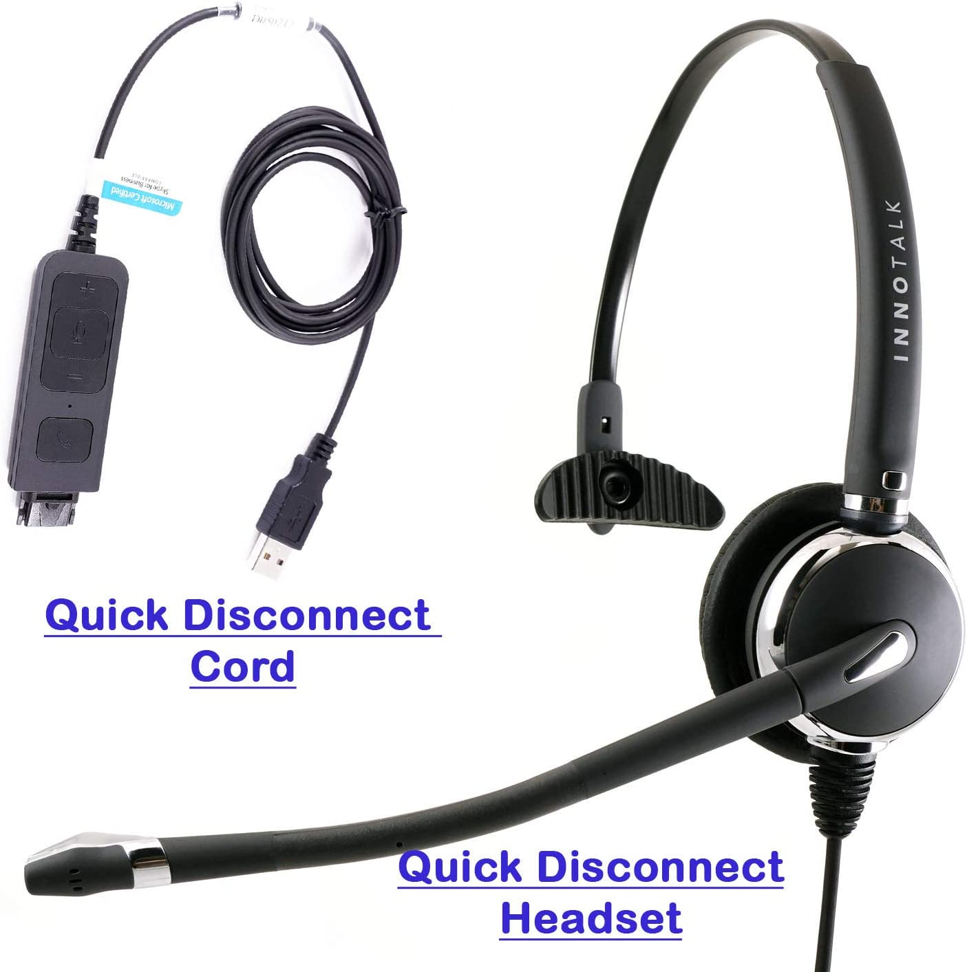 Amazon Com Call Center Noise Cancelling Microphone With Headset Plug And Play Usb Voip Headphones For Ms Lync Skype 3cx Bria X Lite Softphone Headset Compatible With Plantronics Headset Quick Disconnect Computers Accessories