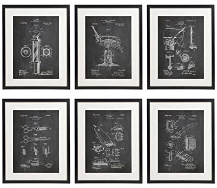 Amazon idiopix barber patent hair salon wall decor chalkboard idiopix barber patent hair salon wall decor chalkboard art print set of 6 prints unframed malvernweather Images