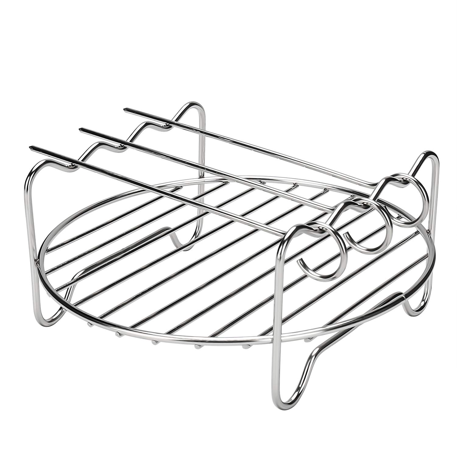 Clikon Air Fryer Accessories 304 Stainless Steel Multi-purpose Double Layer Rack with Skewer Air Fryer Rack Compatible with 2.6-5.8 QT
