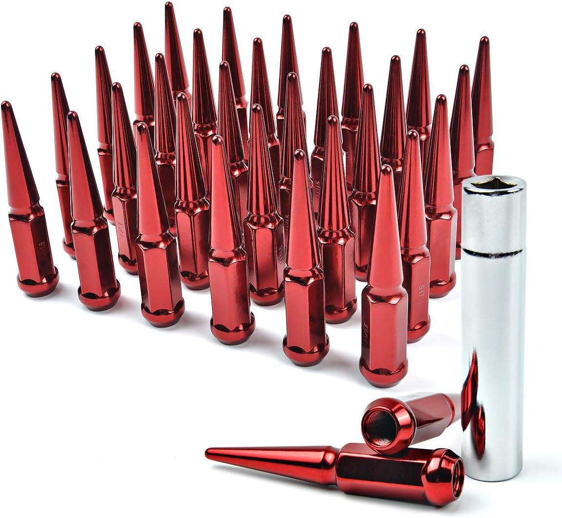 F-150 F-250 F-350 MIKKUPPA M14x1.5 Wheel Spike Lug Nuts 32 PCS Red Spiked Lug Nuts 14mmx1.5 Solid 4.4 Tall Acorn Lug Nut with 1 Socket Key Replacement for Silverado 1500 2500 3500