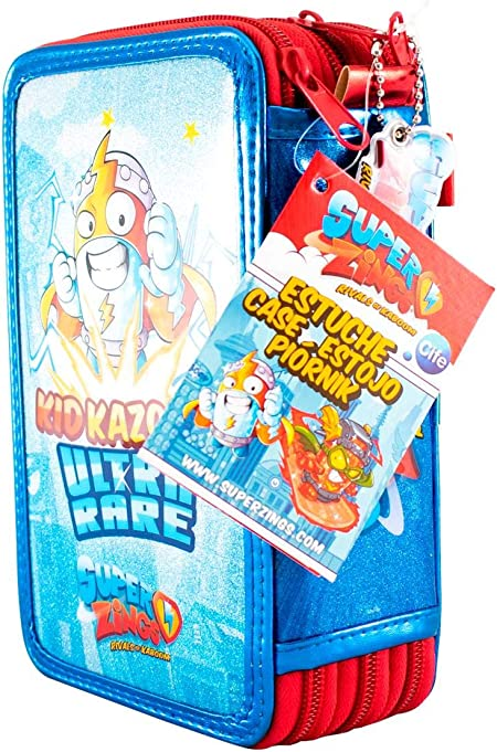 Cife SUPERZINGS Estuche Triple ZUPERZINGS Kid Fury Colores, 16 rotuladores, Bolis, Regla, Calendario, lápiz, Goma, Multicolor con Glitter (42044): Amazon.es: Juguetes y juegos