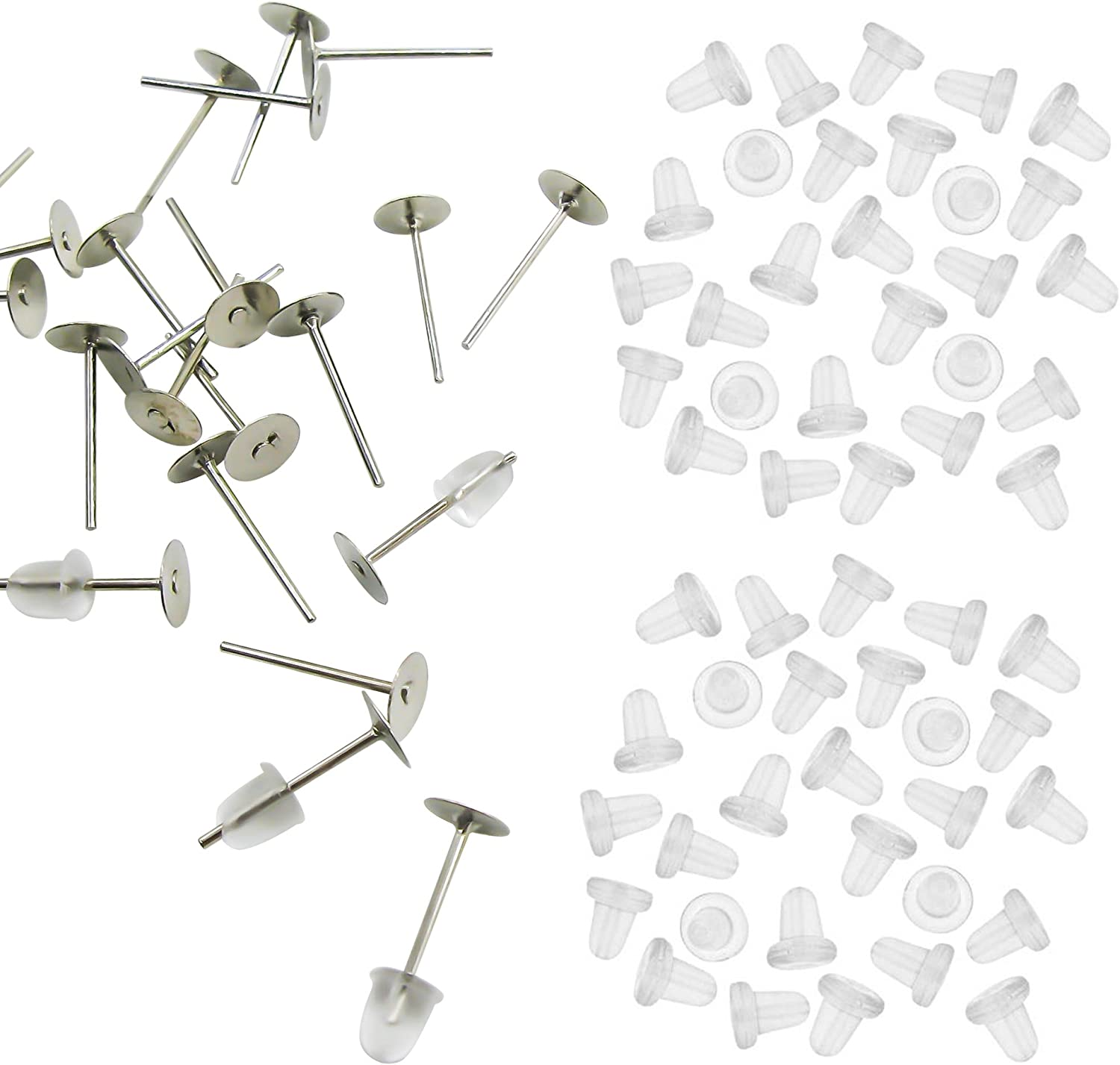 Pack of 600pcs Earrings Pin Stud Findings DIY Back Post Pad Blank Retail
