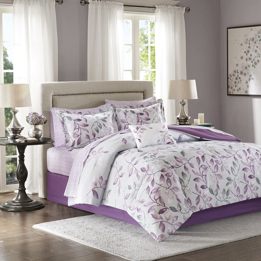 Madison Park Essentials Lafael Queen Size Bed Comforter Set Bed in A Bag - Purple, Grey, Vine Leaf – 9 Pieces Bedding Sets – Ultra Soft Microfiber with Cotton Sheets Bedroom Comforters