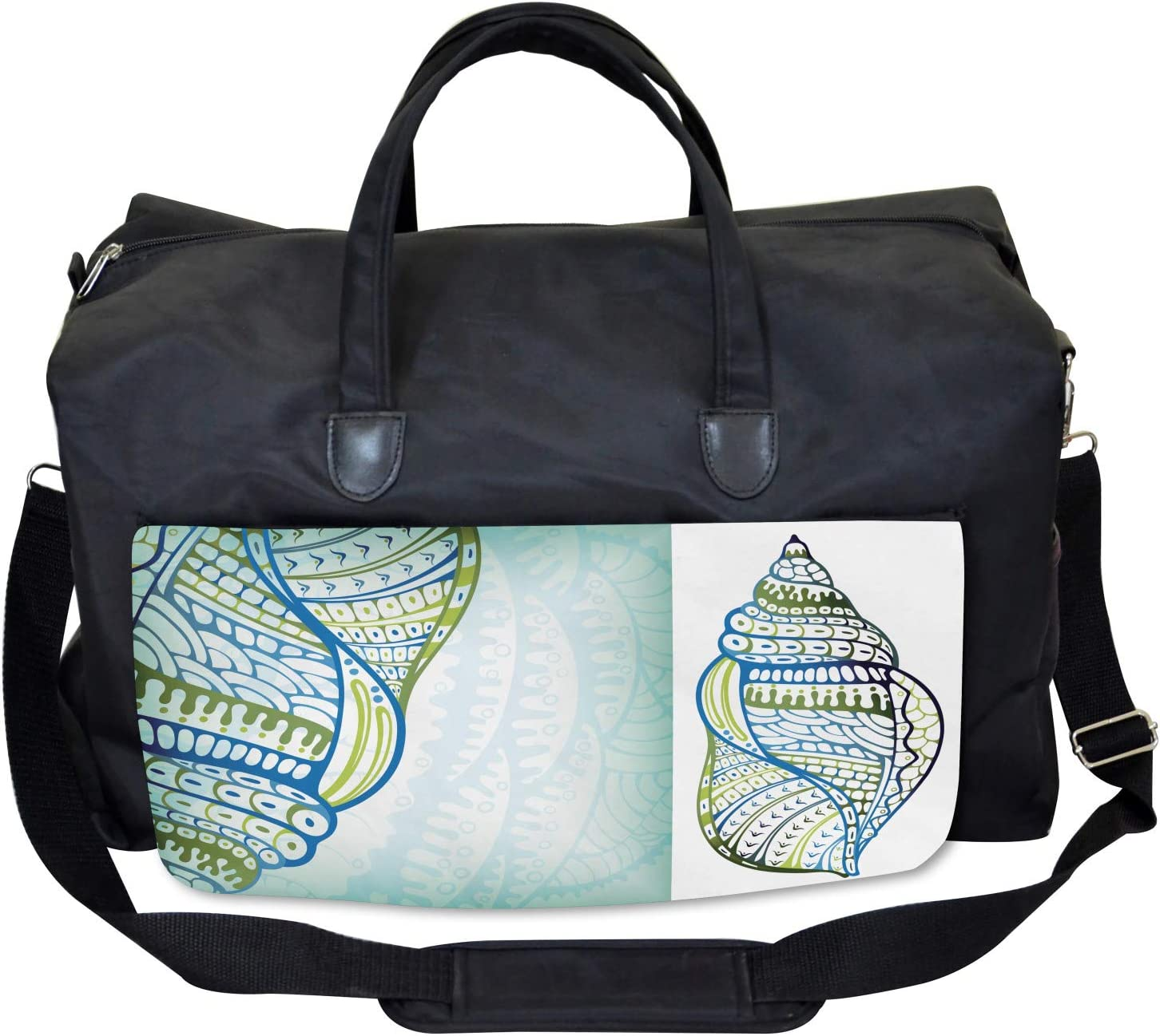Ambesonne Abstract Gym Bag Large Weekender Carry-on Seashell Ornate Motifs