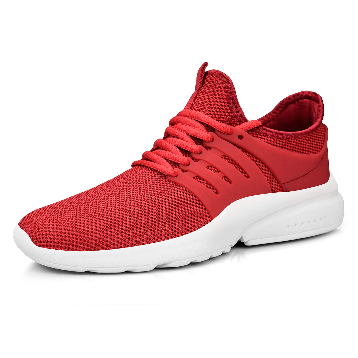 Feetmat Men's Running Shoes Lightweight Non Slip Breathable Mesh Sneakers Sports Athletic Walking Shoes Red White 6M by Feetmat