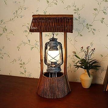 ZYCkeji Modern Tischlampe, American Country Wohnzimmer Lampe, Retro Bambus  Lampe Petroleumlampe, Schlafzimmer