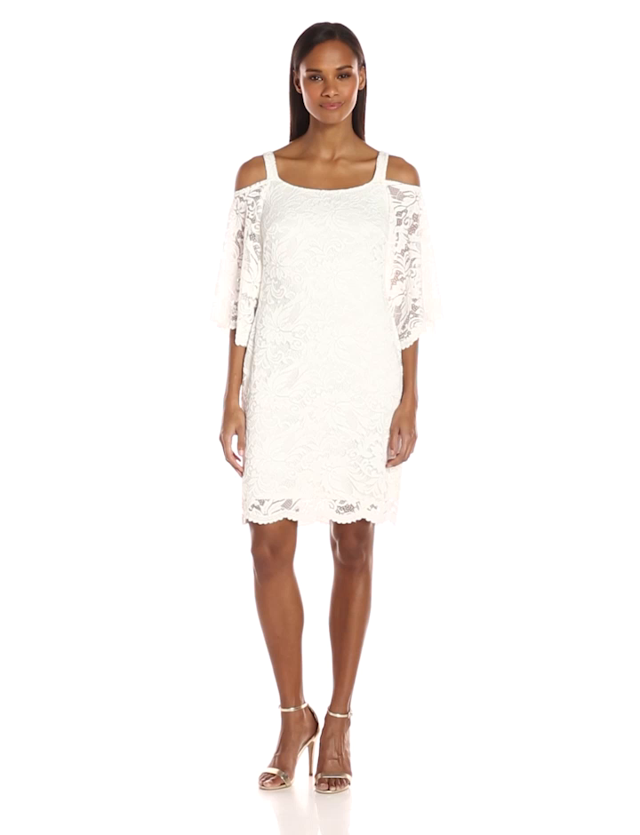 Robbie Bee Women's Lace Cold Shoulder Shift Dress, Ivory, XL