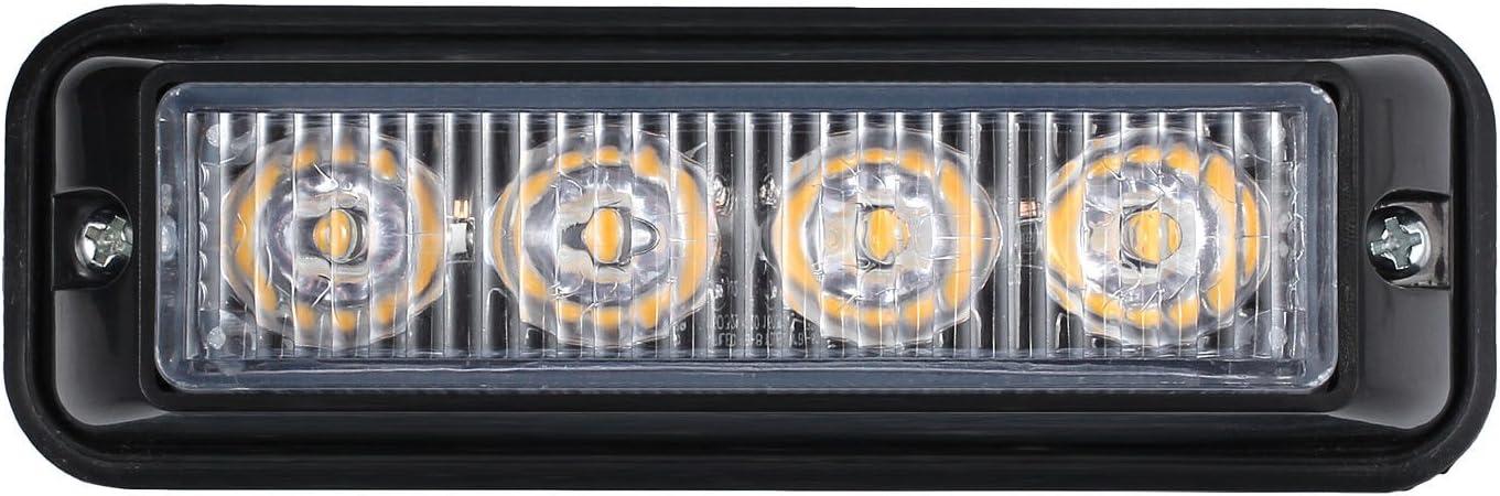AUTOUTLET 4 X 12//24V 4LED Strobe Light Amber Flashing Recovery Lightbar Truck Beacon Waterproof IP65 with Light Switch Mounting Bracket /& Screws