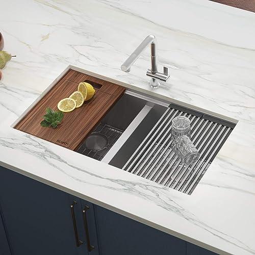 Ruvati 30-inch Workstation Ledge 50 50 Double Bowl Undermount 16 Gauge Stainless Steel Kitchen Sink – RVH8345