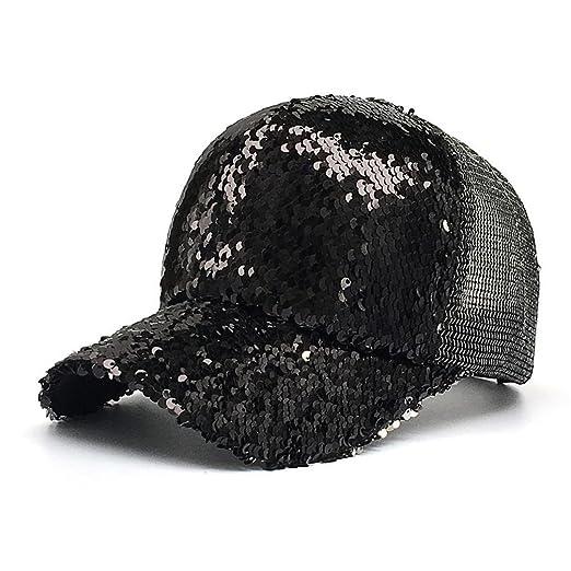 c25ac0f41993b Women Ponytail Baseball Cap Sequins Shiny Messy Bun Snapback Hat Sun Caps  Laimeng World (Black)