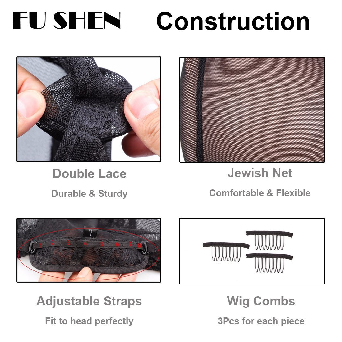 Elastic Wig Caps For Making Wigs Stretch Lace Weaving Cap Extra Large For Big Head with Adjustable Straps and Combs (Black 1 Piece XL-23Inch) by FU SHEN (Image #6)