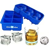 niceCube Ice Cube Trays - Ice Ball Maker and Large Ice Cube Tray Set - Big 2-Inch Slow Melting Cubes Won't Dilute Your Drink, Easy-Release Silicone Molds, Great for Scotch or Bourbon Whiskey