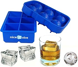 niceCube Large Ice Cube Tray and Ice Ball Maker, Great for Whiskey, Slow Melting, Easy-Release Silicone Molds