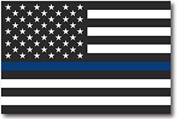 Thin Blue Line Magnet Flag 3x5 inch Flag Decal Great for Car Truck SUV or Fridge