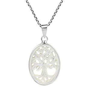 Thriving Tree of Life Carved Mother of Pearl Shell .925 Sterling Silver Necklace