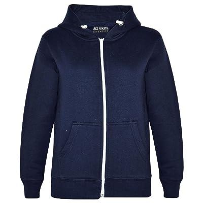 a2z4kids Kids Girls & Boys Unisex Plain Fleece Hoodie Zip Up Style Zipper Age 5-13 Years