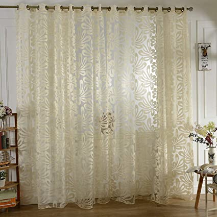 Amazon.com: BROSHAN Beige Sheer Curtain Panels, Modern ...
