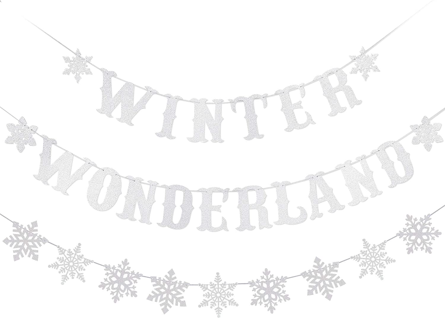 Winter Wonderland Banner Silver Glitter and Silver Glittery Snowflake Banner - Winter Baby Shower Decorations,Winter Wonderland Decor,Winter Decorations,Christmas Party Decorations,Snowflake Garland Decor