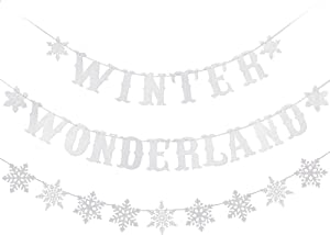 Winter Wonderland Banner Silver Glitter and Silver Glittery Snowflake Banner - Winter Baby Shower Decorations,Winter Wonderland Decor,Winter Decorations,Christmas Party Decorations,Snowflake Garland Decor