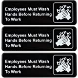 Employees Must Wash Hands Before Returning to Work Sign: Easy to Mount Plastic Safety Informative Sign with Symbols…