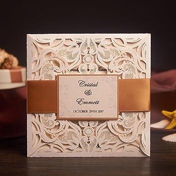 Amazon yuwed 50x cream laser cut wedding invitations card kit yuwed 50x cream laser cut wedding invitations card kit with rsvp cardsbirthday party baby stopboris Image collections