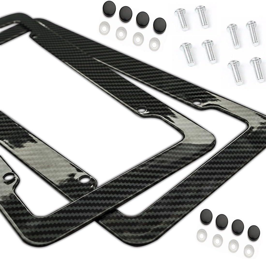 2 Pcs Real Carbon License Plate Frame Rear /& Front Tag Holder For Tesla Model 3