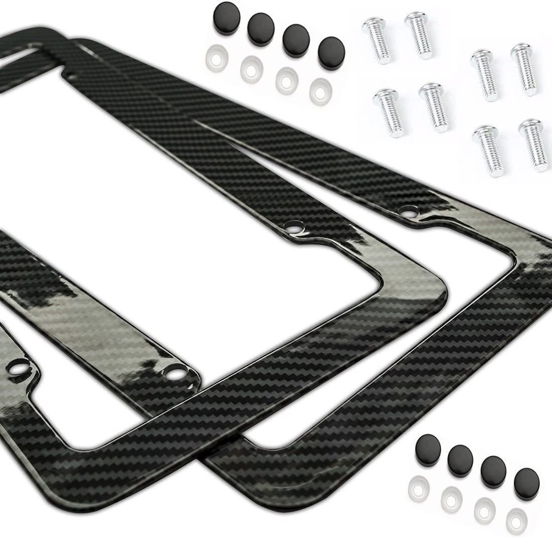2Pcs Plastic Red Carbon Fiber Style License Plate Frames Front /& Rear Bracket