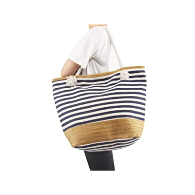 AmyHomie Large size straw striped canvas beach bag, zip pocket travel bag, Christmas gift delicate