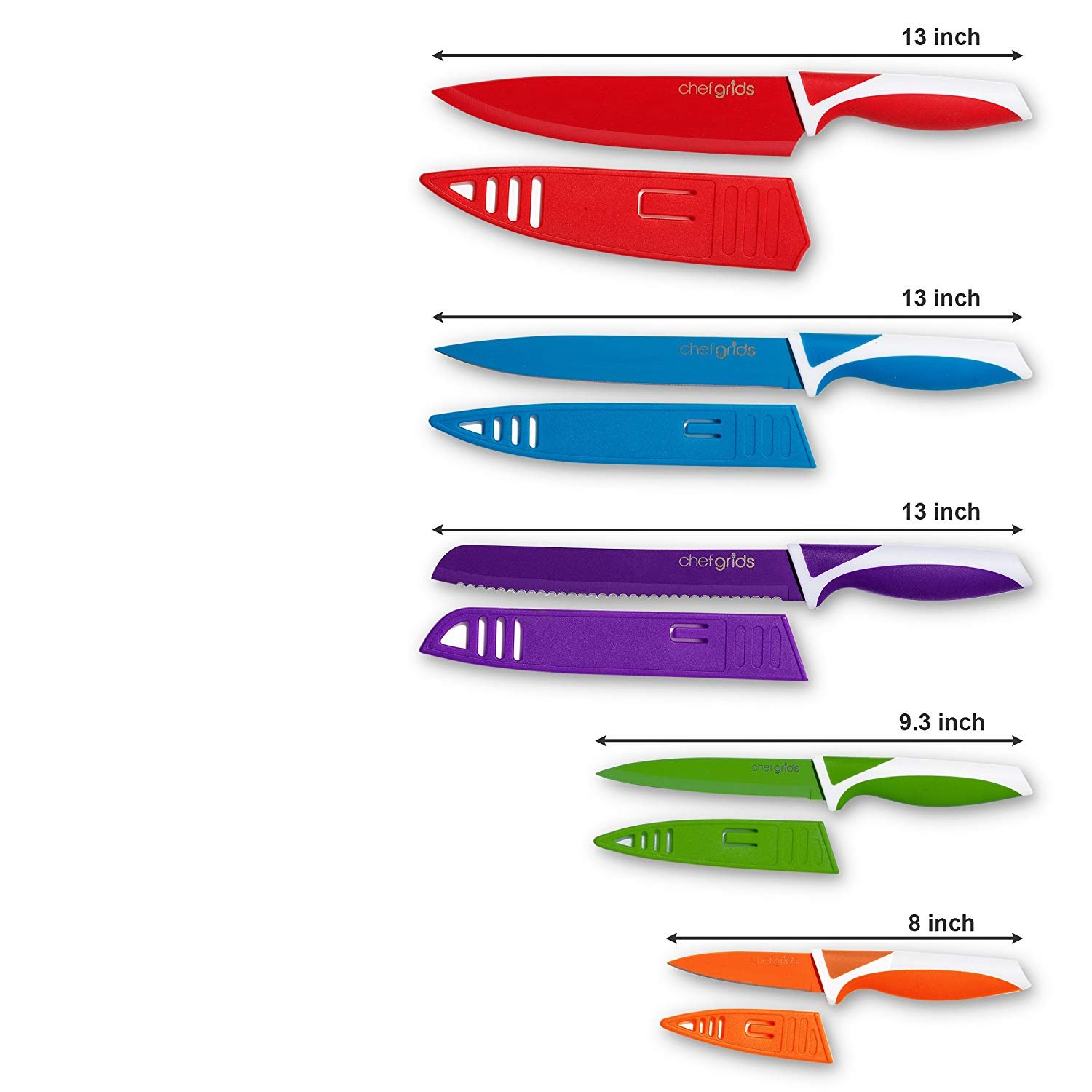 12-Piece Colorful Premium Kitchen Knife Set, 5 Non-Stick Stainless Steel Utility knifes for Carving, Paring with 5 Protection Sheaths and with Single Safety Glove by Chef Grids