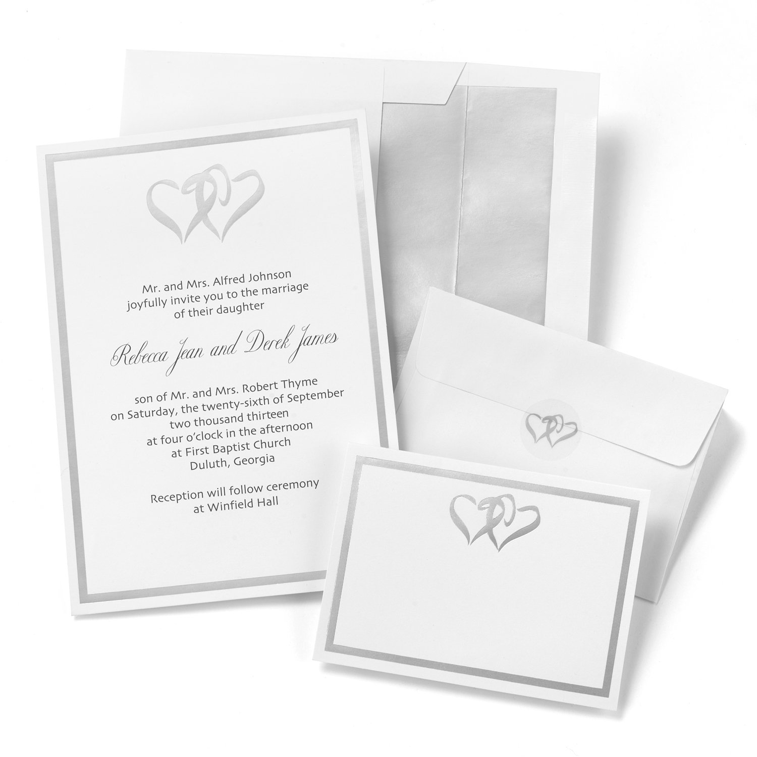 Amazon.com: Hortense B. Hewitt Wedding Accessories Silver Double Heart  Invitation Kit: Home U0026 Kitchen